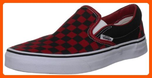 7a4625206a3721 Vans Unisex Adult Checkerboard Slip-On Black Formula One Red Check  VN000EYE36M Mens 4