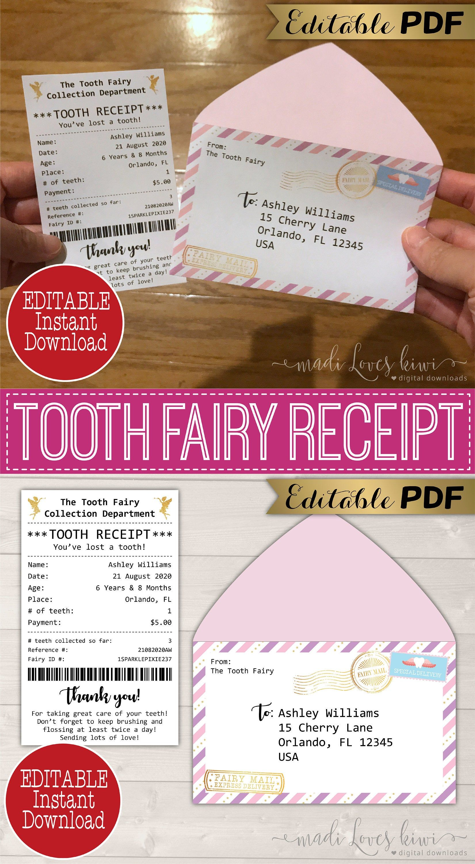Pin By N Terry On Mommy Duty Tooth Fairy Receipt Tooth Fairy Receipt Free Printable Tooth Fairy Letter