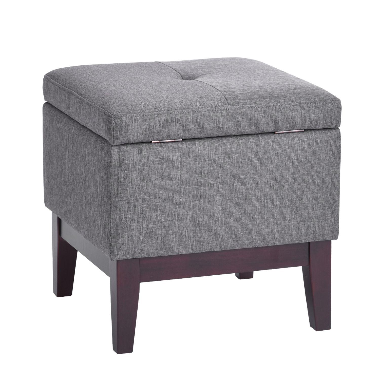 Grey Footstool With Storage