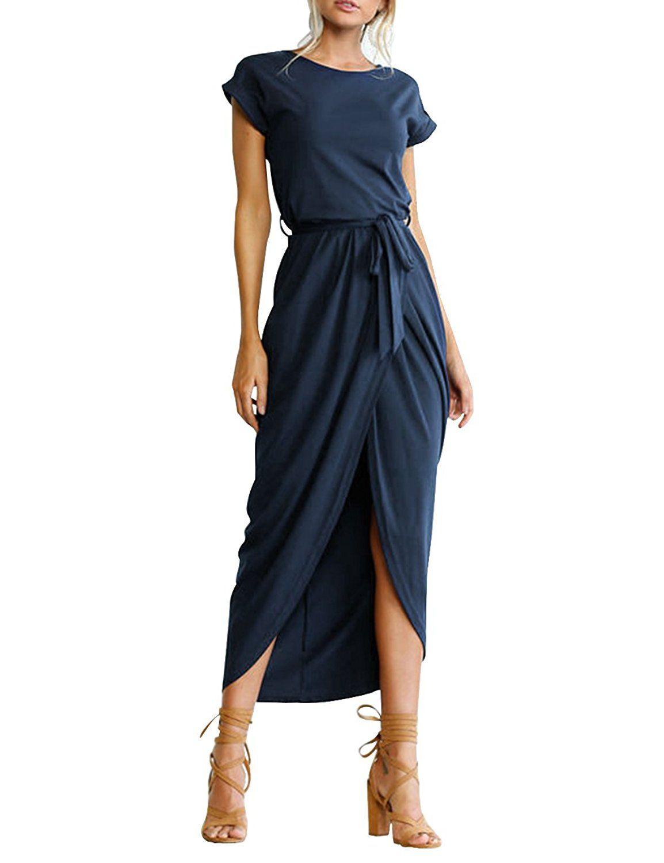 Sommerkleider - ISASSY Damen Kurzarm Abendkleid Elegant Kleid Lang ...
