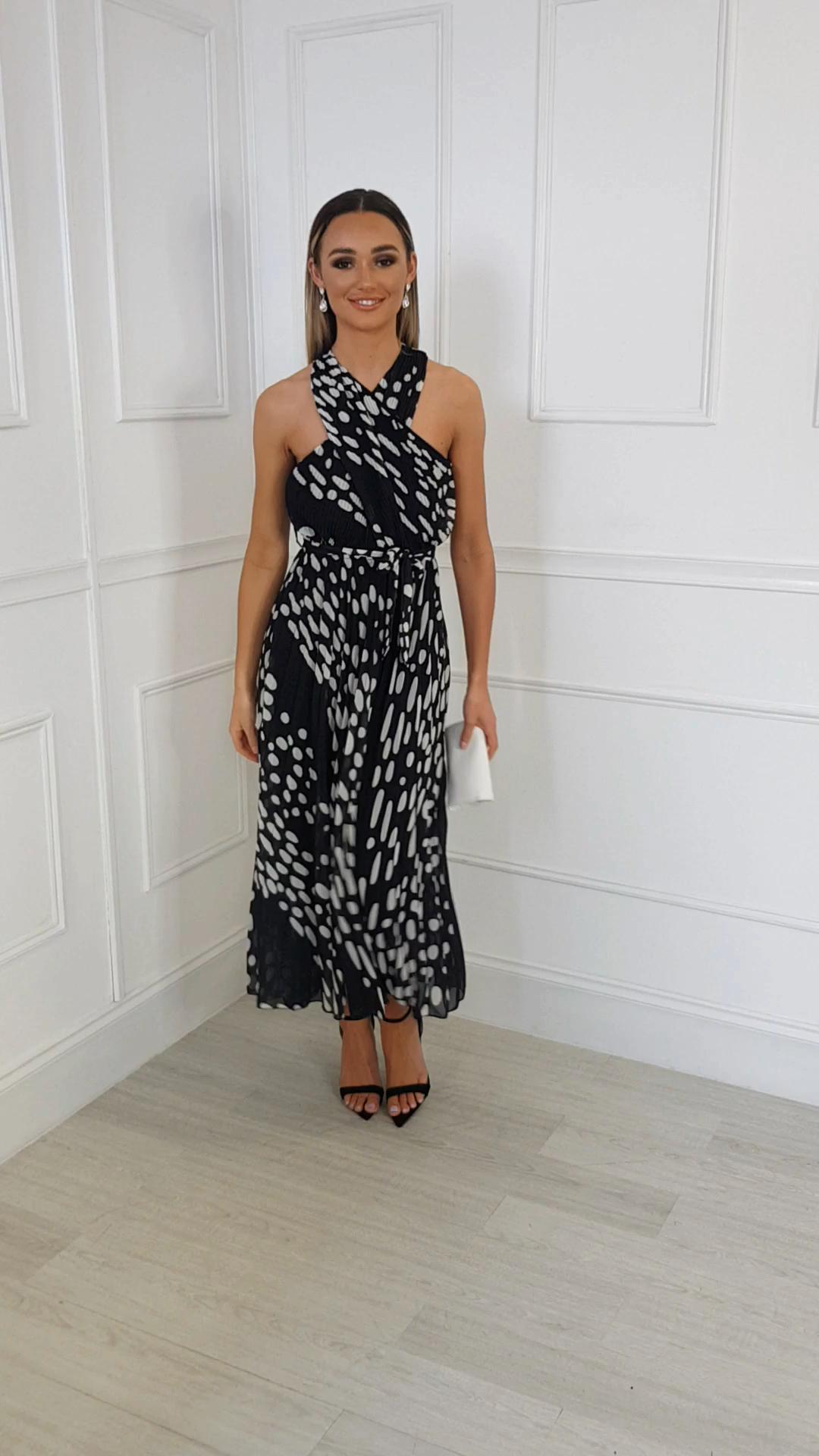 IKRUSH Womens Sorsha Pleated Crossover Printed Maxi Dress