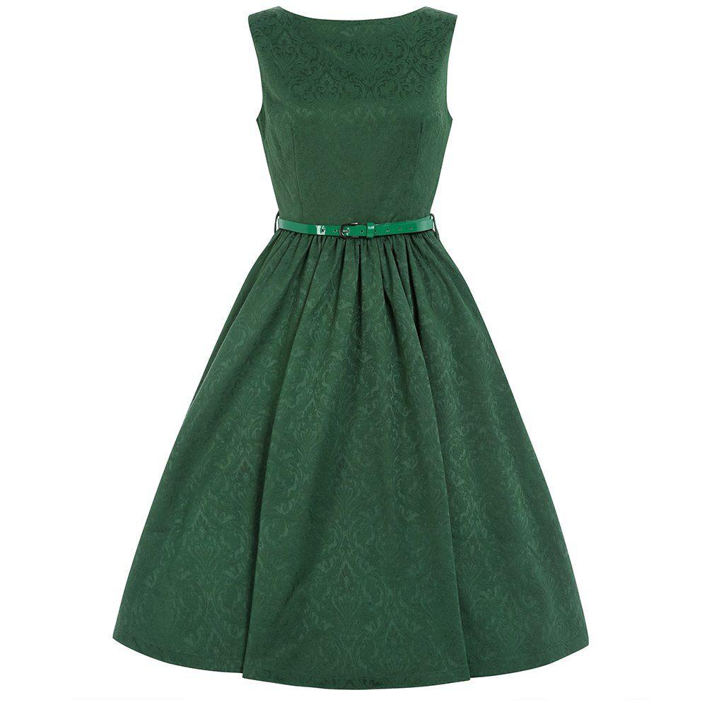 Audrey' Green Brocade Swing Dress | Jive dresses, Vintage