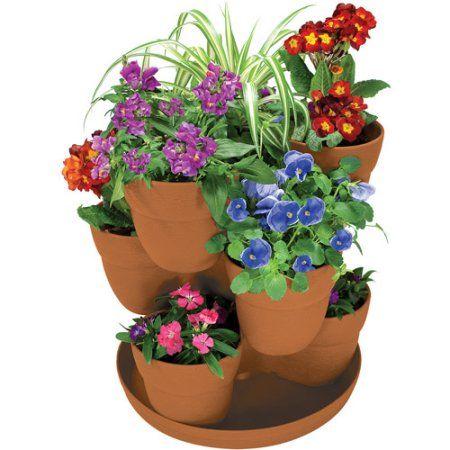 Patio Garden With Images Flower Tower Flower Pots Flower Planters