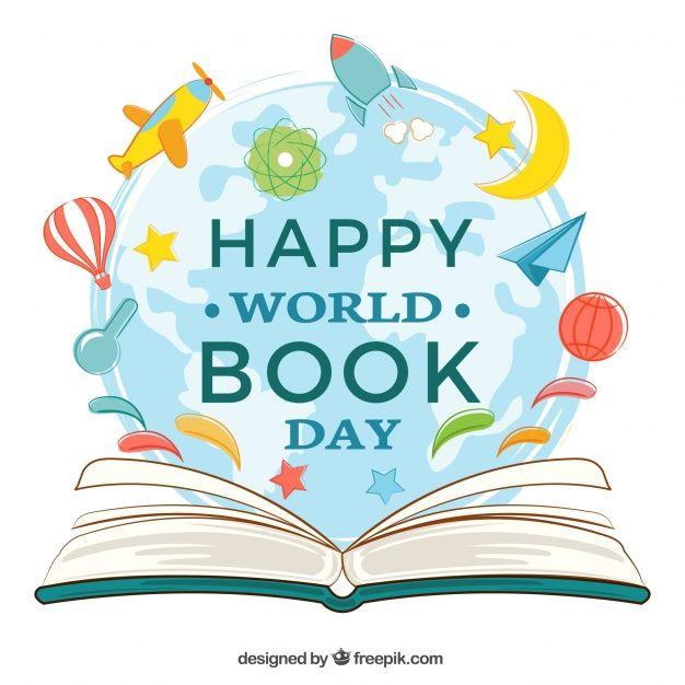 Fondo de libro abierto con elementos decorativos para el día mundial del libro Vector Gratis