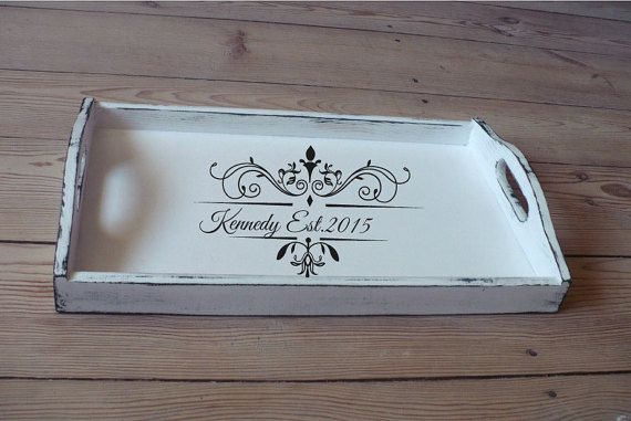 breakfast tray personalized serving trays white wooden tray