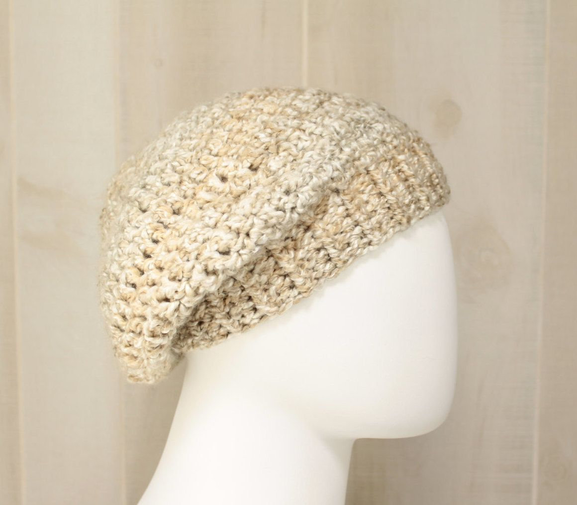 Classic Stone Beret Womans Winter Hat Ivory Beige Slouchy Crochet ...