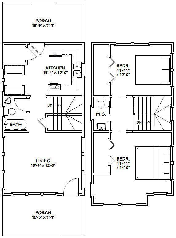 16x30 Tiny House 2 Bedroom Pdf Floor Plan 901 Sq Ft