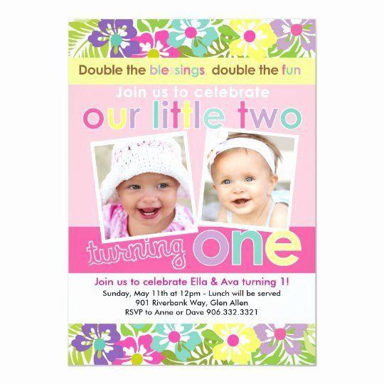 twin girl first birthday invitation beautiful colorful