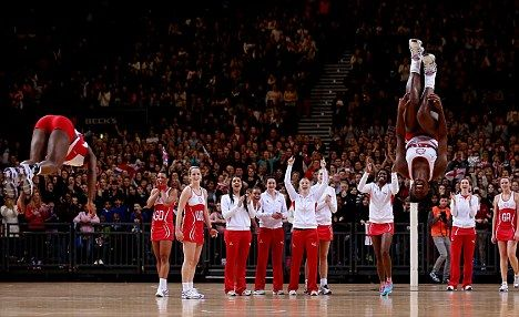Jumping for joy: Kadeen Corbin and Sasha Corbin celebrate England's win