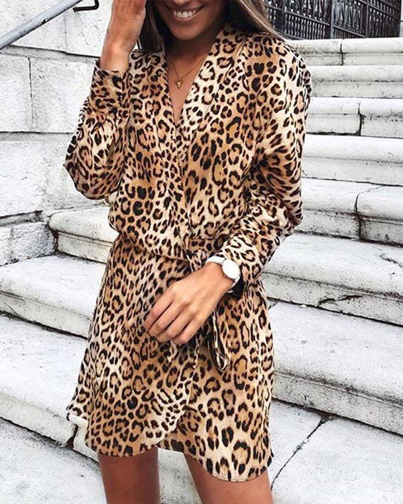 V Neck Long Sleeve Leopard Printed Belt Casual Dress Brand Adorapretty Sku 95f5b984011d Gender W Animal Print Dresses Leopard Print Outfits Leopard Print Dress [ 1000 x 800 Pixel ]
