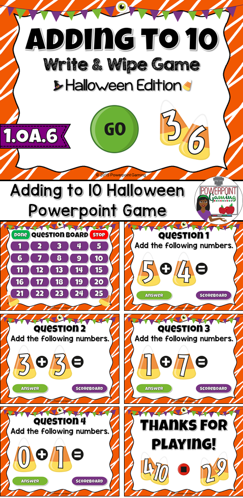 Adding to 10 Halloween Powerpoint Game | Students, Gaming and Math
