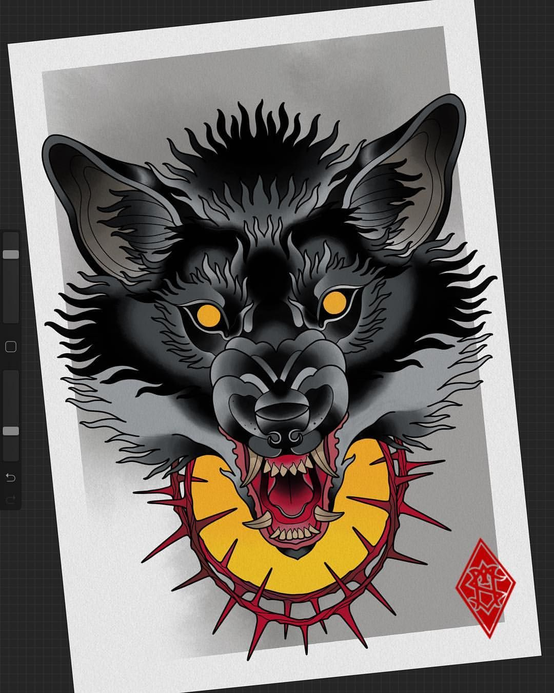 Kartinka Svobodna Neotraditional Newtrad Tattoo Flash Wolf Wolftattoo Sketch Painting Drawing Ipadprotat Wolf Tattoos Wolf Sketch Wolf Tattoo Design