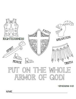 Ephesians 6 The Armor Of God Sunday School Coloring Pages Your