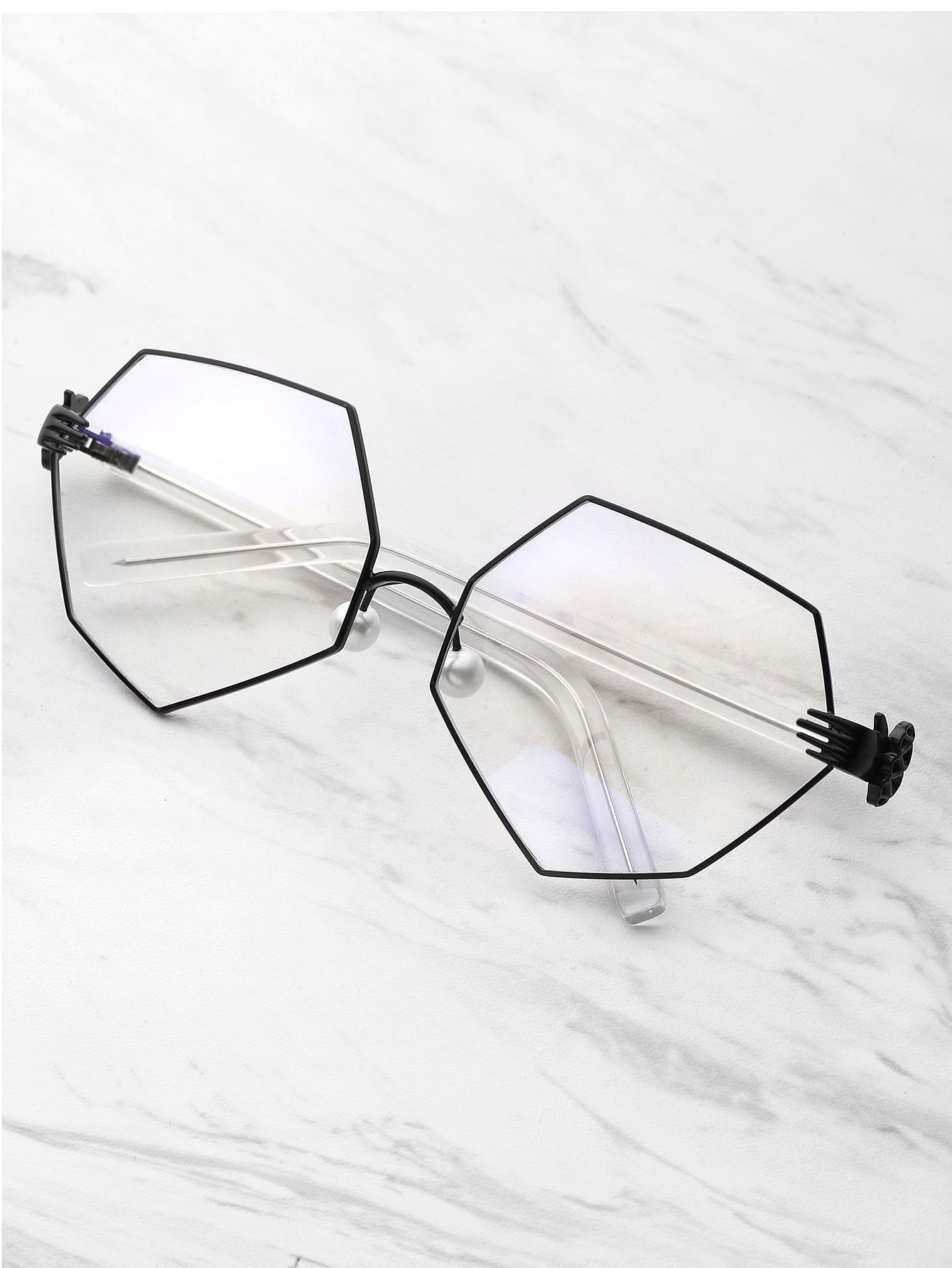 def6a7ee32 Palm Detail Polygon Glasses With Clear Lens