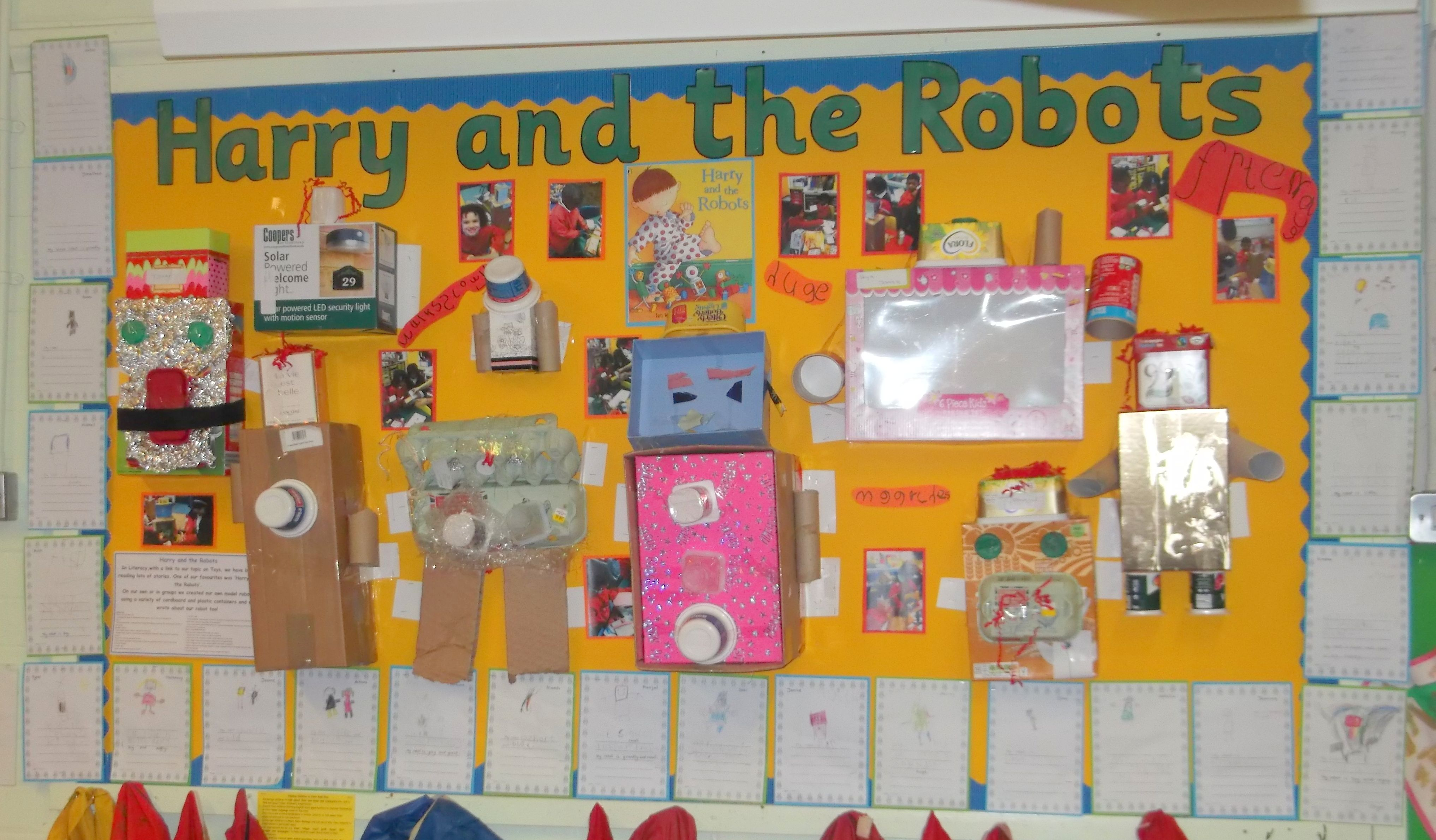 junk display modelling robots harry activities 3d eyfs classroom toys displays toy story books visit rockets science maths boys boxes
