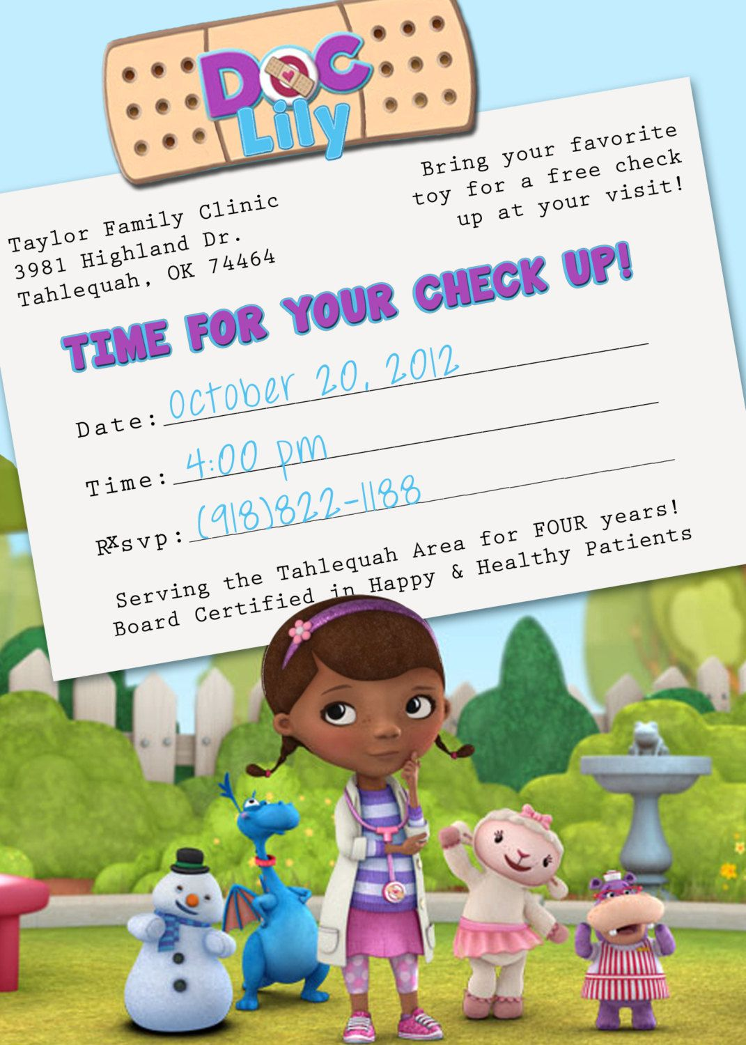 Doc McStuffins Appointment Card Birthday Invitation. $15 ...