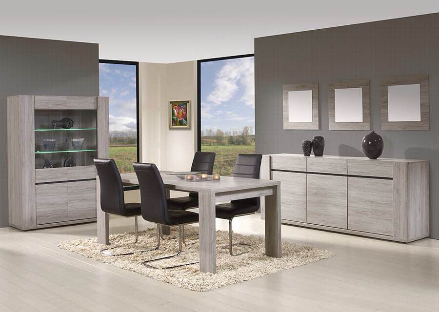 salle manger compl te contemporaine venise coloris ch ne gris salle manger design ou. Black Bedroom Furniture Sets. Home Design Ideas