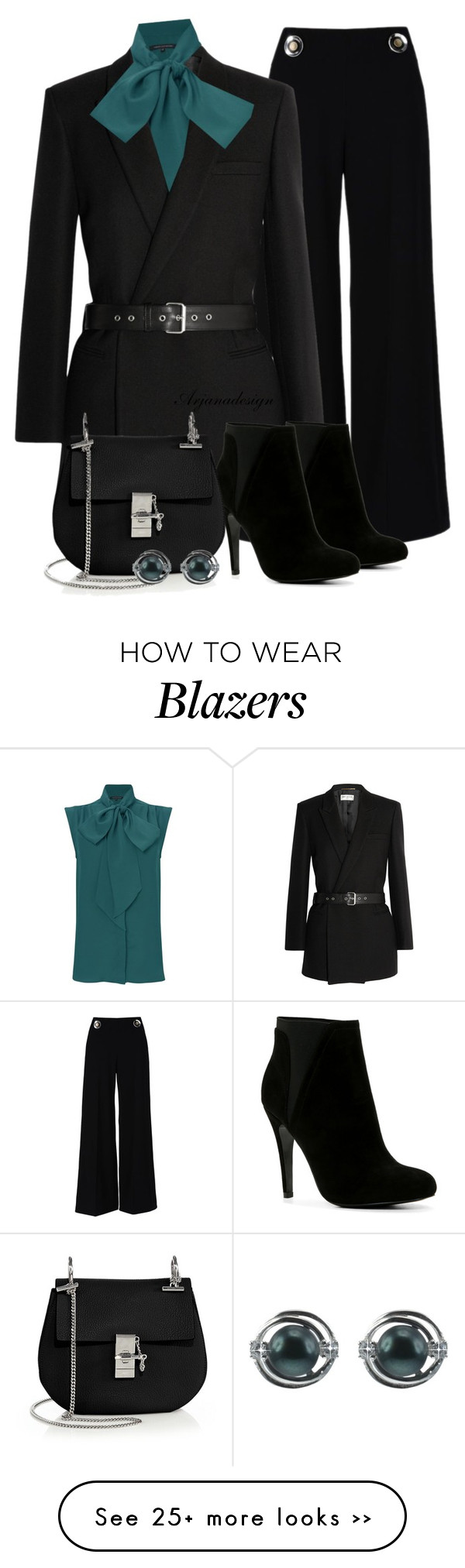 """""""Saint Laurent Belted Blazer"""" by arjanadesign on Polyvore featuring STELLA McCARTNEY, Yves Saint Laurent, French Connection, ALDO, Chloé, Lido Pearls, WorkWear, saintlaurent and fall2015"""