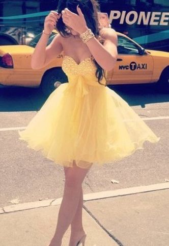 Tulle Homecoming Dresses,Yellow Homecoming Dress,Short Prom Dress,Strapless Prom Gowns,Sweet Dress,Simple Homecoming Dress