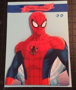Birthday Card Spiderman Glitter Eyes And Spider 3D Red Blue Jewels Handmade