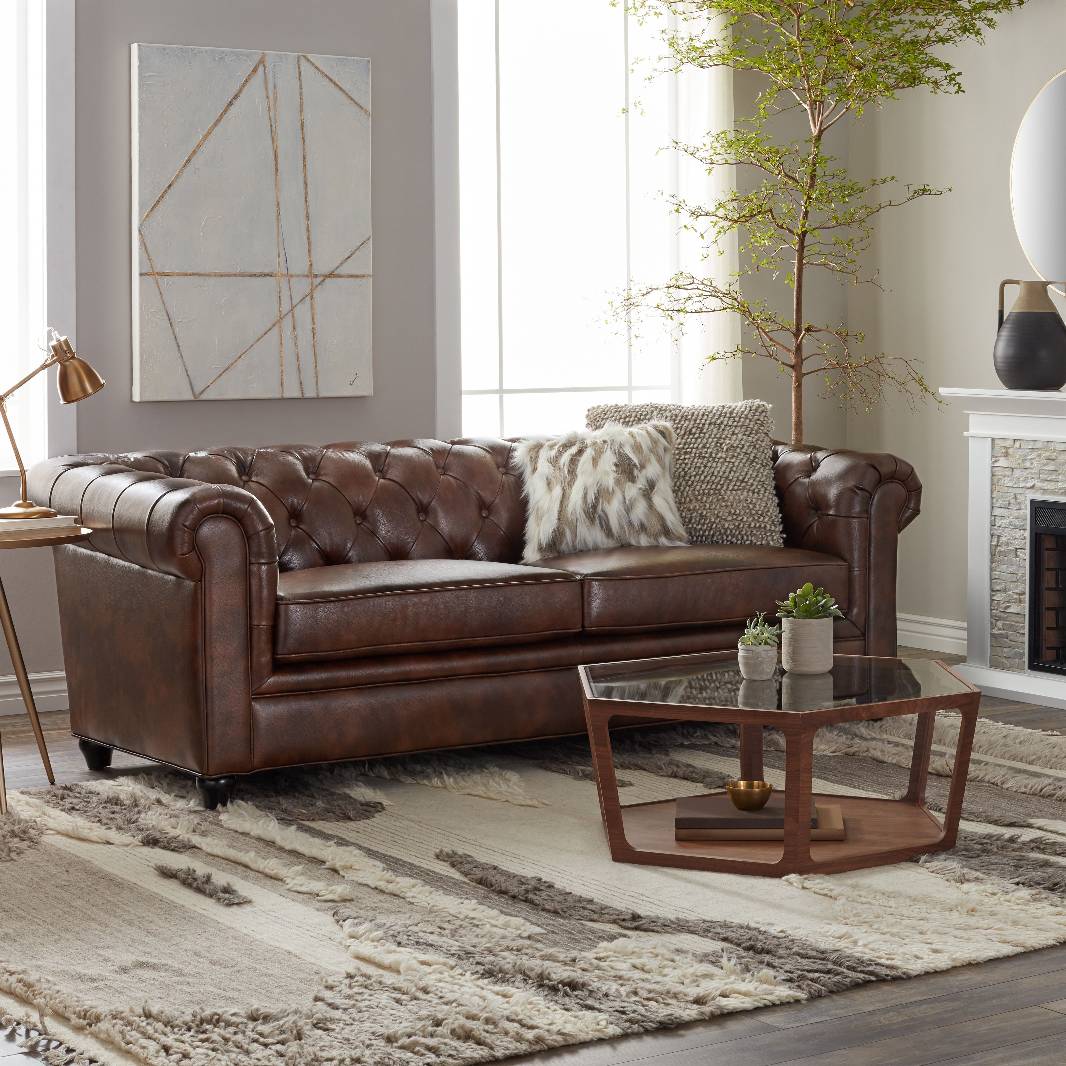 Abbyson Tuscan Top Grain Leather Chesterfield Sofa ...