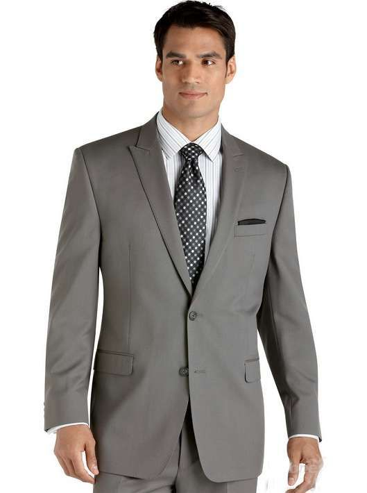 Interview Suits For men | Classic Peak Lapel Two Buttons Grey ...