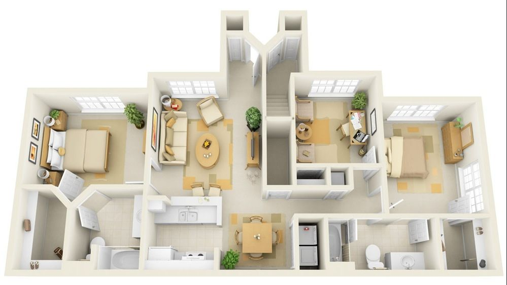 17 Best images about 50 Three 3 Bedroom ApartmentHouse Plans on. Three bedroom house simple planning idea