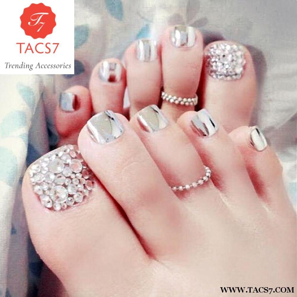 Chic Toe Nails Metallic silver For Foot Nail | nailw | Pinterest ...