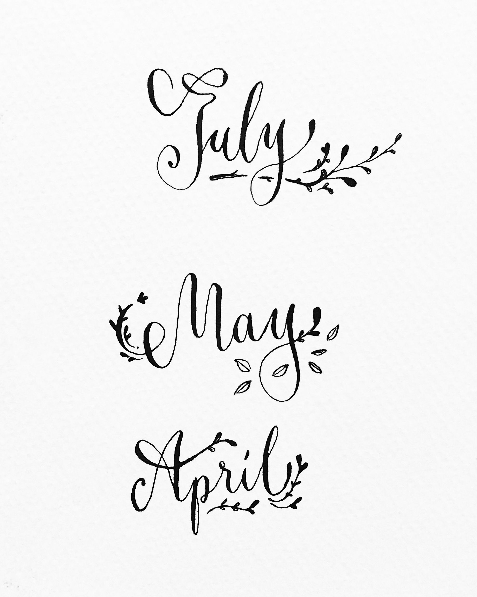 Month July May April Calligraphy Typography