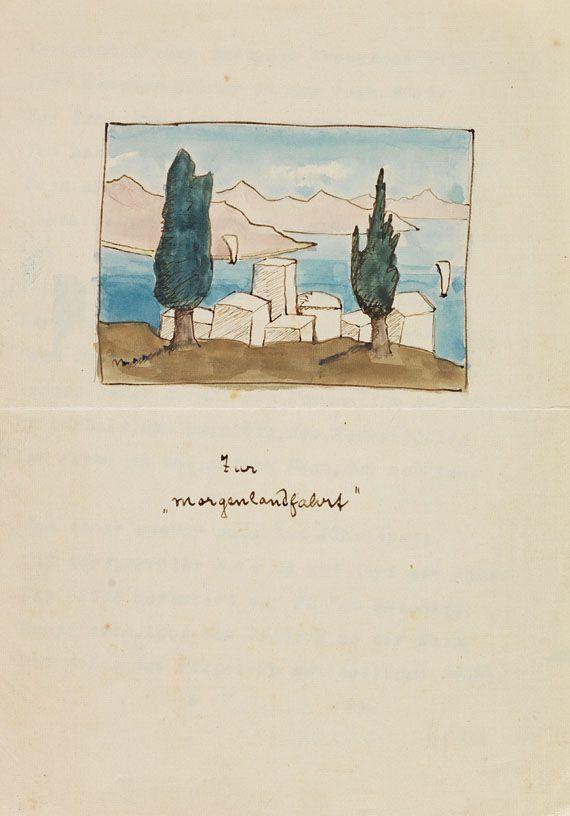 Hermann Hesse Eigh Gedicht Zur Morgenlandfahrt Mit Aquarell