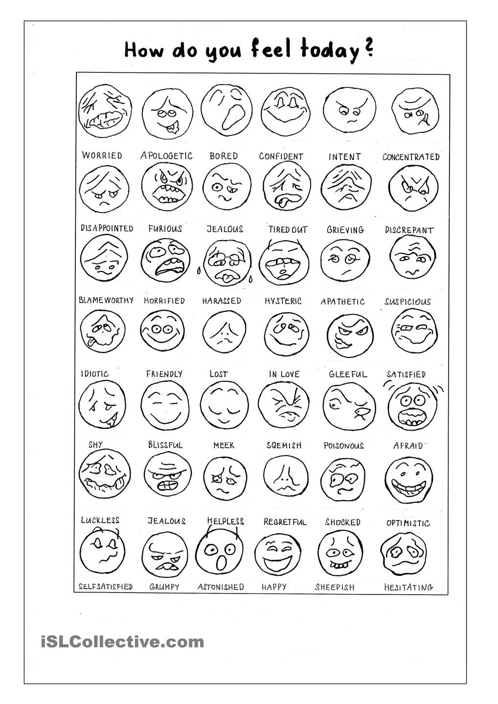 worksheet Esol Worksheets how do you feel today classroom decoration pinterest language arts