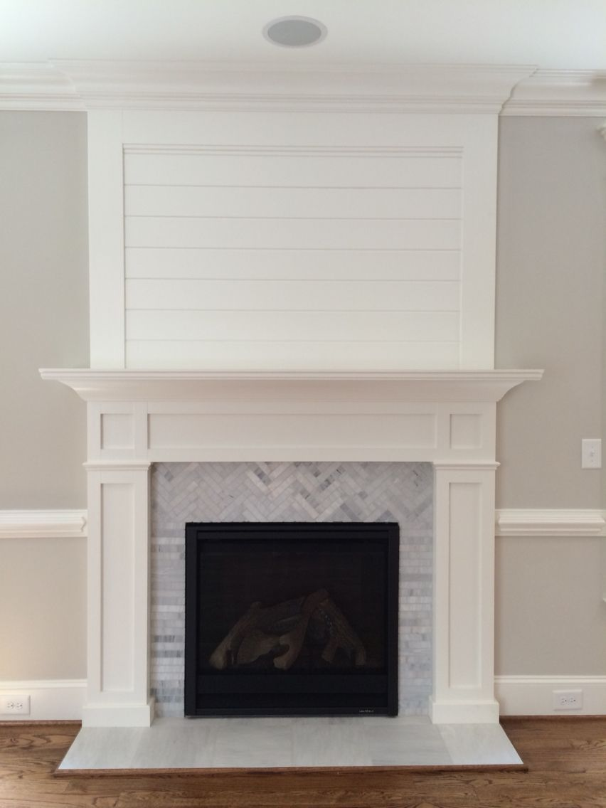 Craftsman style fireplace mantel - Trim Detail Herringbone Marble Shiplap Fireplacefireplace Mantelsfireplace Ideasmantlefireplacesfamily
