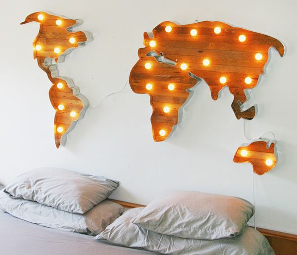 Wooden World Map With Marquee Lights So Retro I Want One Of - Us map lights