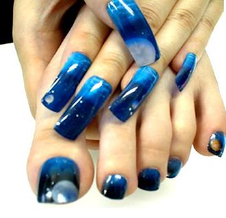 long but strong ocean blue wave acrylic nails  blue nail