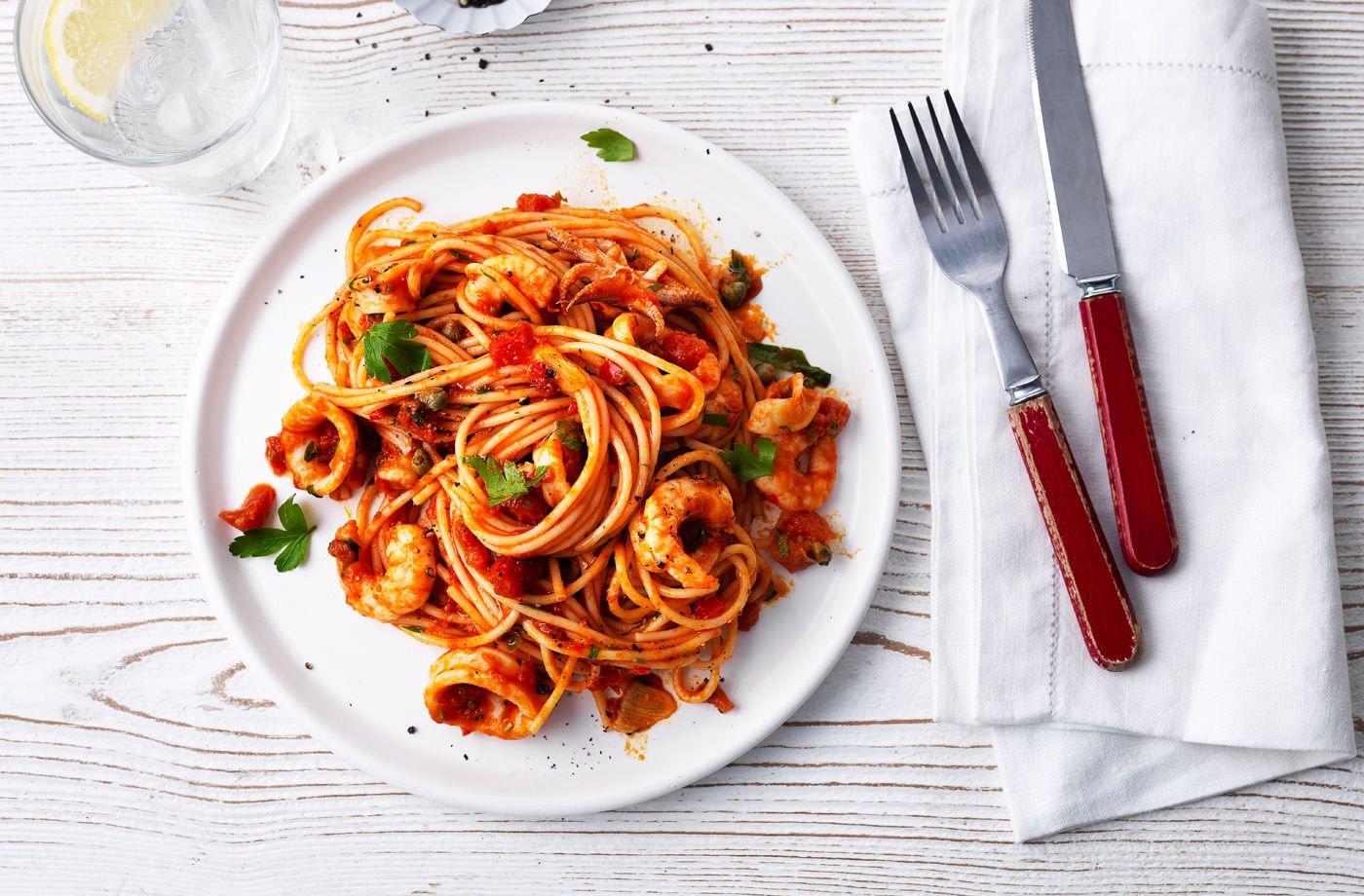 Seafood Spaghetti With Marinara Sauce Tesco Real Food Recipe Marinara Recipe Seafood Marinara Recipe Seafood Recipes