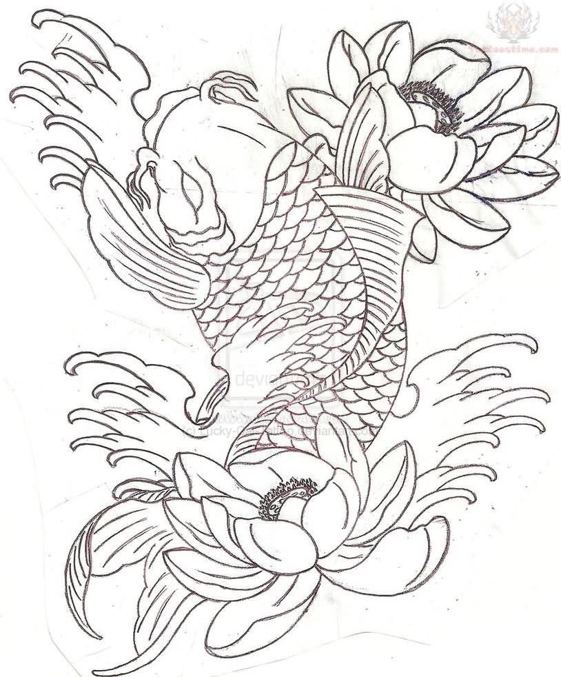 Coloring pages koi fish - Koi Fish Half Sleeve Tattoo Sample