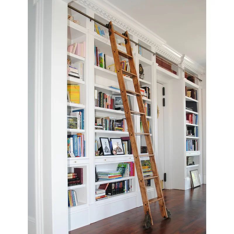 Best 9 Ft Red Oak Removable Rolling Ladder With Rail Kit In 400 x 300
