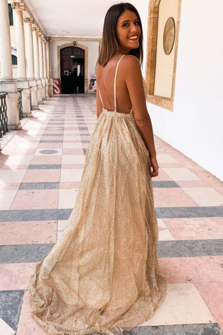 Free Shipping Sparkle Gold Formal Gown Prom Dresses Elegant Prom Dresses Evening Dresses [ 1125 x 750 Pixel ]
