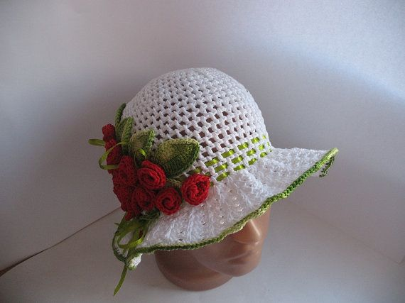 Hat Brim in White with Roses Crochet  Women by ninellfux on Etsy,