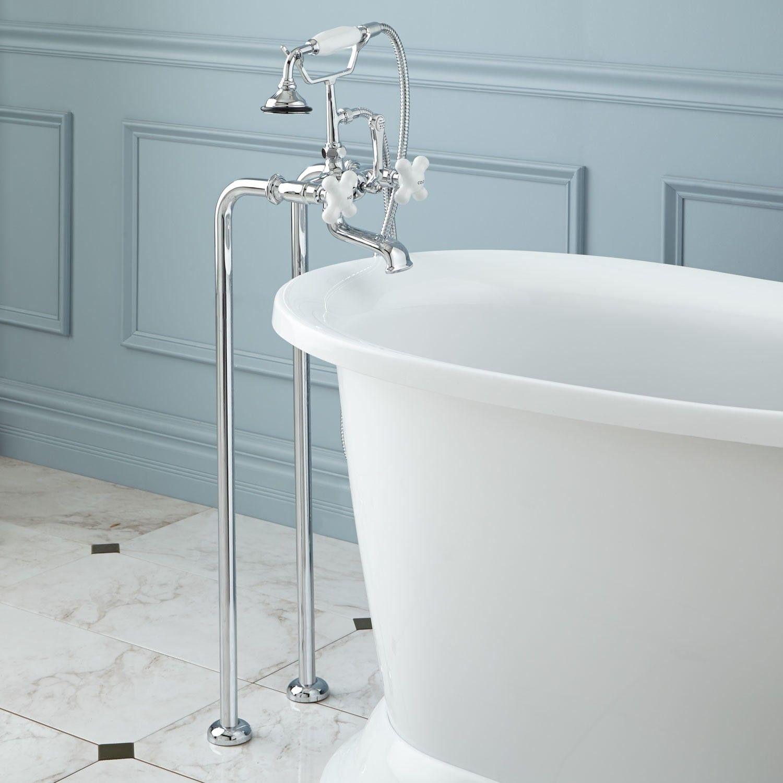Freestanding Telephone Tub Faucet & Supplies - Porcelain Cross ...