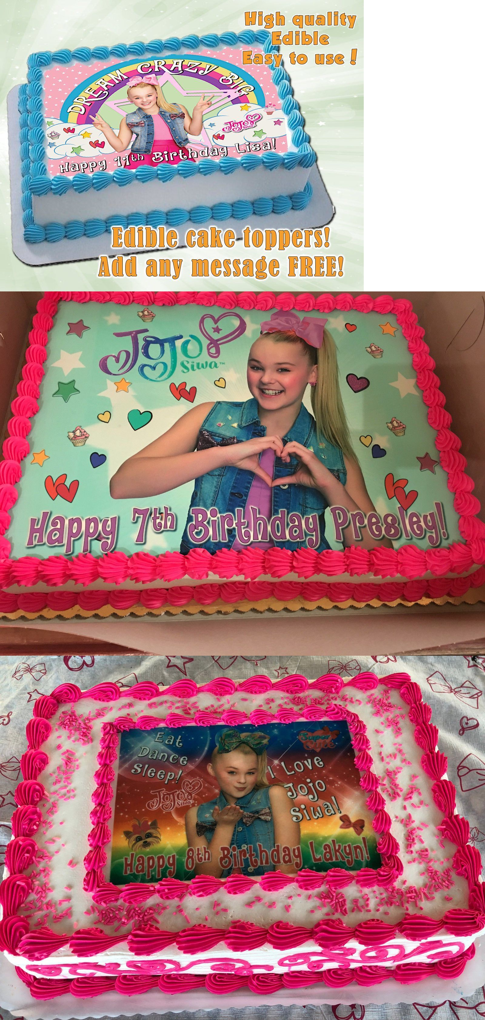 Details About Jojo Siwa Edible Birthday Cake Topper Personalized