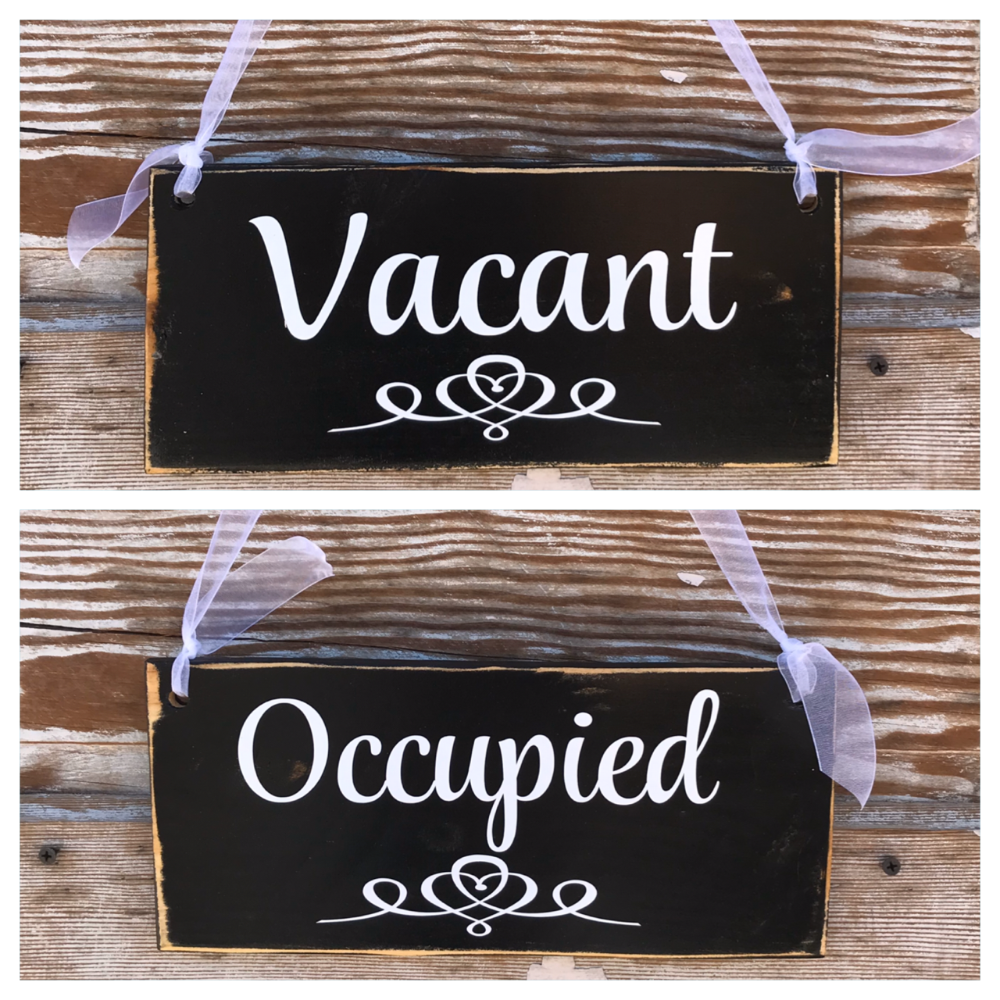 Occupied Vacant Double Sided Bathroom Sign 12 Bathroom Signs Bathroom Door Sign Toilet Door Sign