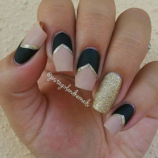 60 pretty matte nail designs nude nails matte black and nude 60 pretty matte nail designs prinsesfo Image collections