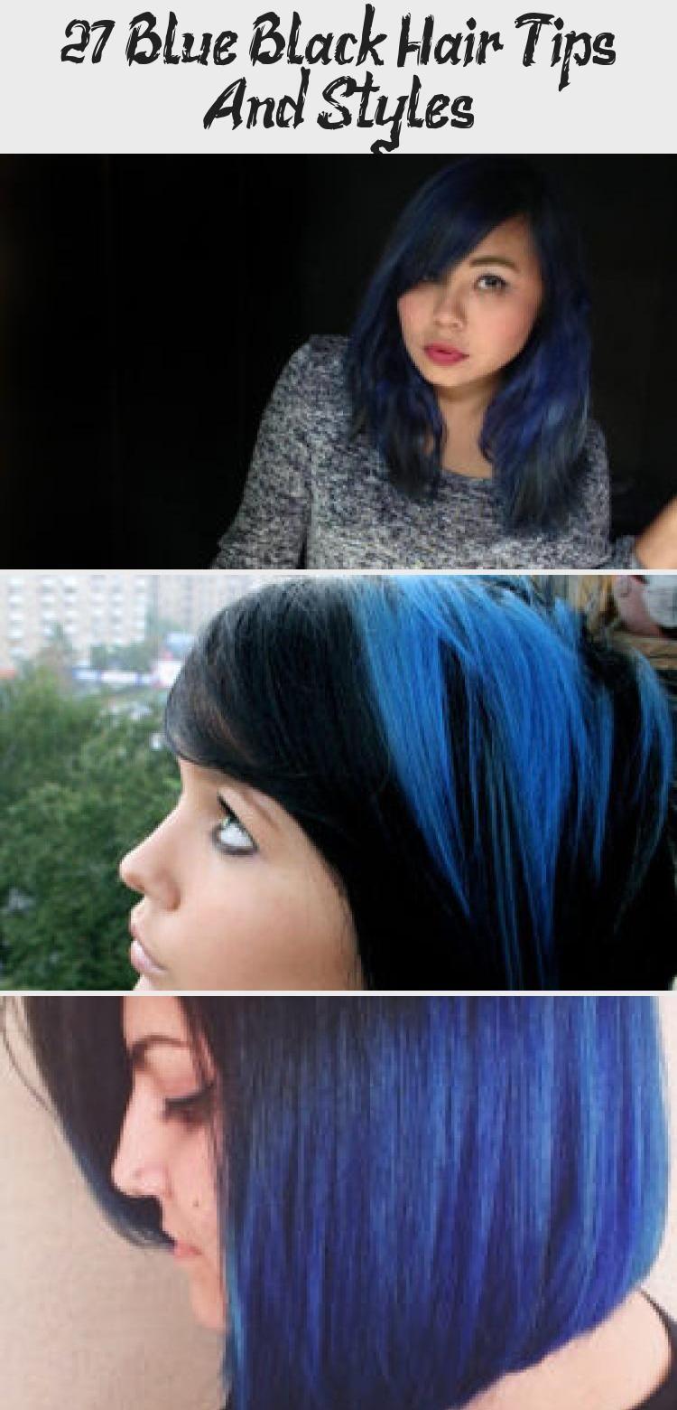 27 Blue Black Hair Tips And Styles In 2020 Black Hair Tips Hair