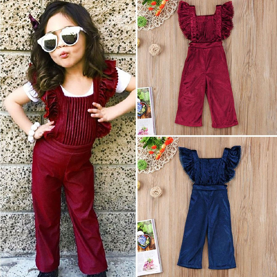 9a9384fd569c Fashion Toddler Kids Girls Velvet Bib Pants Backless Jumpsuit Outfit Clothes