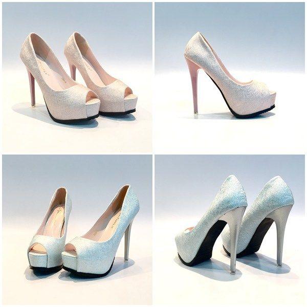 Sepatu Import High Heels Pump 13cm Shh7885 Silver Pink Sepatu
