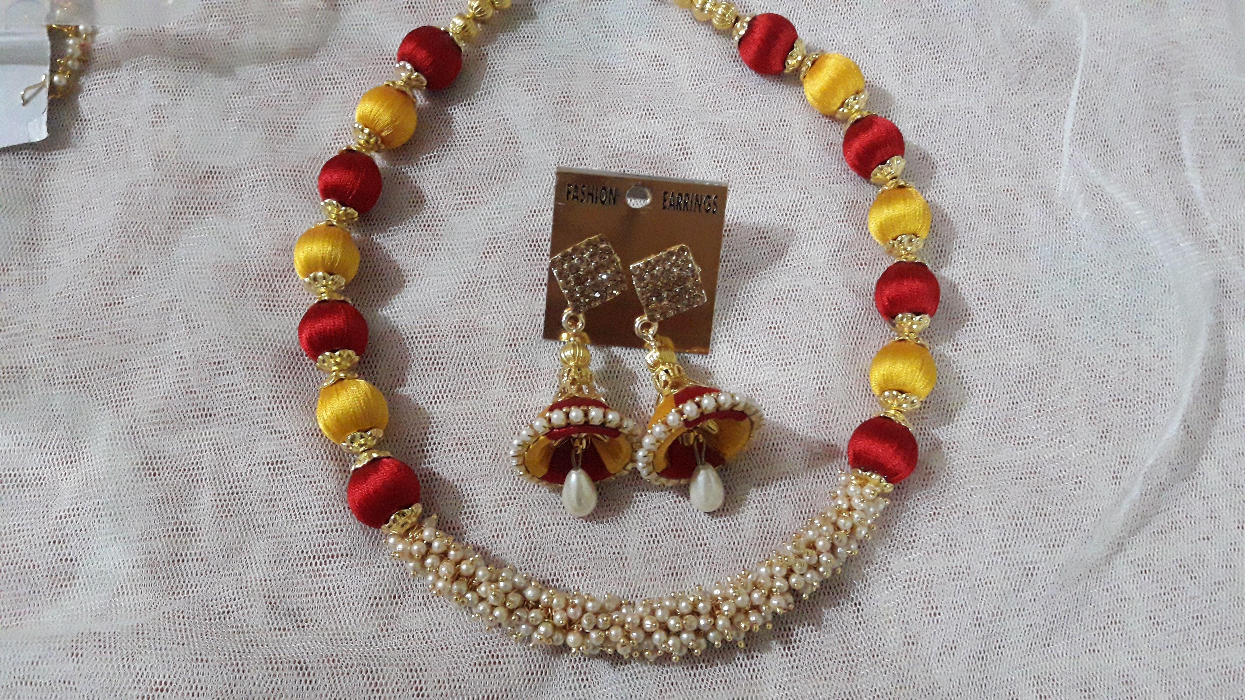 f5f1cf0805 #Yellow, #Rani #Color and #Loreal #Pearl #Jewellery #Set. -  #prasadsilkthreadjewellery