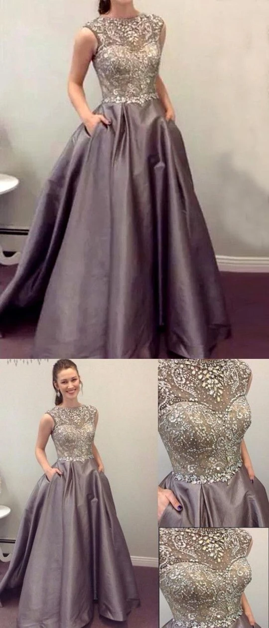 Luxurious Charming A-Line Sparkly Beading Sleeveless Modest Prom Dress,C0506