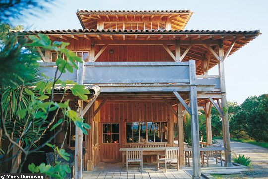 Tropical Wooden Eco-Houses In The South Of France Cap-Ferret, France