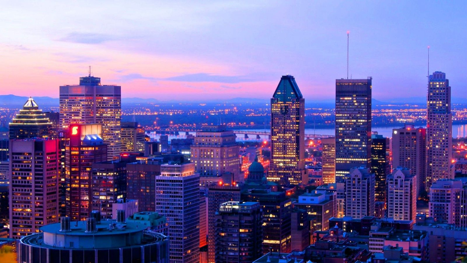 Beautiful Montreal Downtown Sunset Canada City Montreal Vacation City Wallpaper